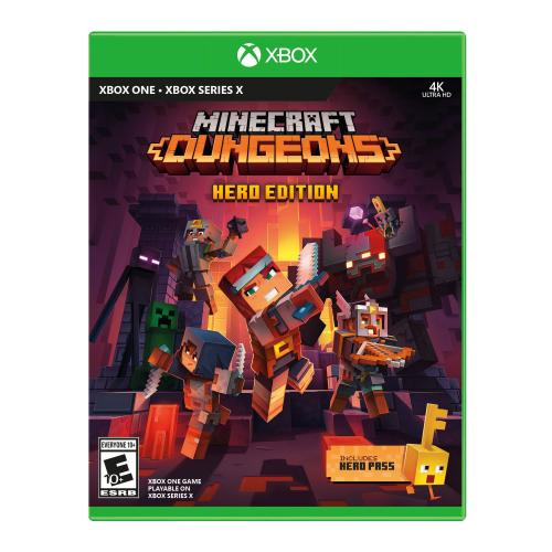 Minecraft Dungeons Hero Edition Xbox One - For Xbox One & Xbox Series X - Action/Adventure Game - ESRB Rated E (Everyone 10+) - Up to 4 players supported - Includes Hero cape, 2 player skins & chicken pet