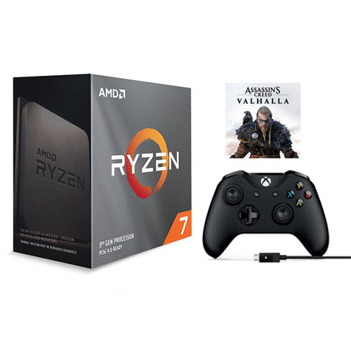 AMD Ryzen 7 3800XT Unlocked Desktop Processor without cooler + Assassin's Creed Valhalla Ryzen Token Code + Xbox Wireless Controller and Cable for Windows