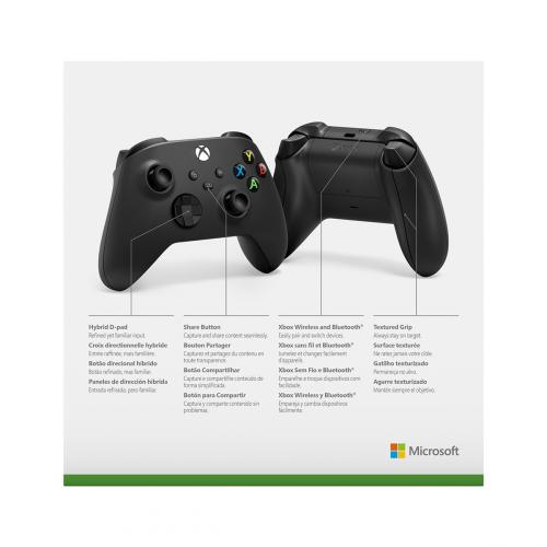 Xbox Wireless Controller Carbon Black   Wireless & Bluetooth Connectivity   New Hybrid D Pad   New Share Button   Featuring Textured Grip   Easily Pair & Switch Between Devices