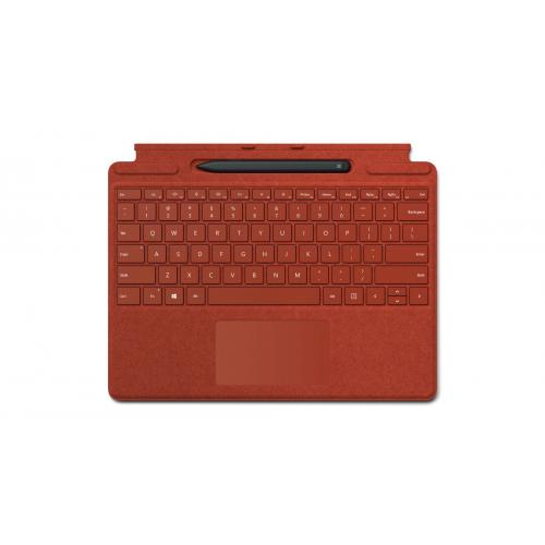 Microsoft Surface Pro X Signature Keyboard Poppy Red with Slim Pen - Full mechanical keyset - Surface Pro X Slim Pen included - Compatible w/ Surface Pro X - Clicks in place instantly - Enhanced Magnetic stability