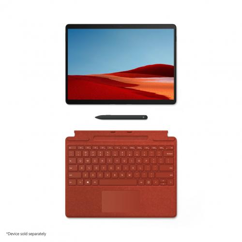 Microsoft Surface Pro X Signature Keyboard Poppy Red With Slim Pen   Full Mechanical Keyset   Surface Pro X Slim Pen Included   Compatible W/ Surface Pro X   Clicks In Place Instantly   Enhanced Magnetic Stability
