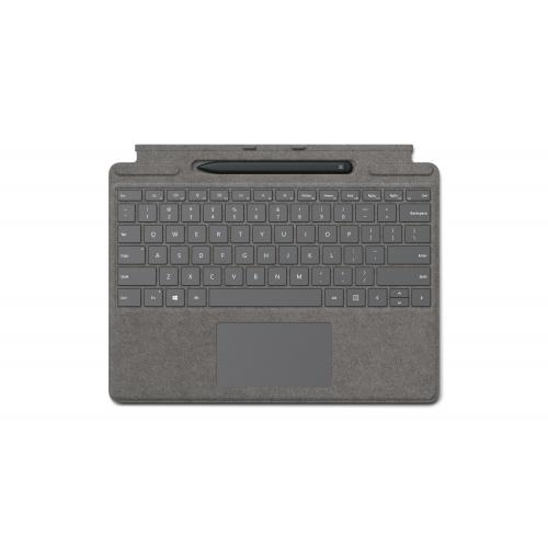 Microsoft Surface Pro X Signature Keyboard Platinum with Slim Pen - Full mechanical keyset - Surface Pro X Slim Pen included - Compatible w/ Surface Pro X - Clicks in place instantly - Enhanced Magnetic stability
