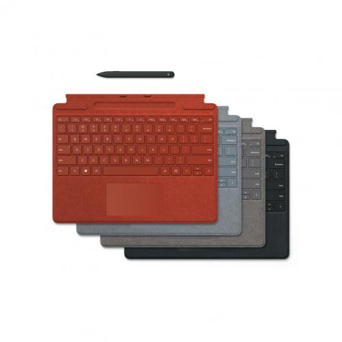 Microsoft Surface Pro X Signature Keyboard Platinum With Slim Pen   Full Mechanical Keyset   Surface Pro X Slim Pen Included   Compatible W/ Surface Pro X   Clicks In Place Instantly   Enhanced Magnetic Stability