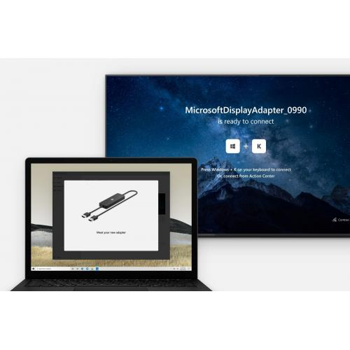 Microsoft 4K Wireless Display Adapter   HDMI & USB Port Connections   Display Wirelessly To A 4K TV   HDMI CEC Support To Easily Connect   Compatible W/ Select Surface & Windows 10 Devices