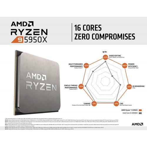 AMD Ryzen 9 5950X 16 Core 32 Thread Desktop Processor   16 Cores & 32 Threads   3.4 GHz  4.9 GHz CPU Speed   72MB Total Cache   PCIe 4.0 Ready   Without Cooler