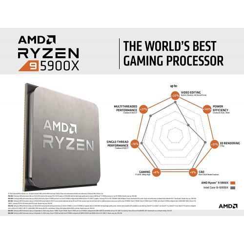 AMD Ryzen 9 5900X 12 Core 24 Thread Desktop Processor   12 Cores & 24 Threads   3.7 GHz  4.8 GHz CPU Speed   70MB Total Cache   PCIe 4.0 Ready   Without Cooler