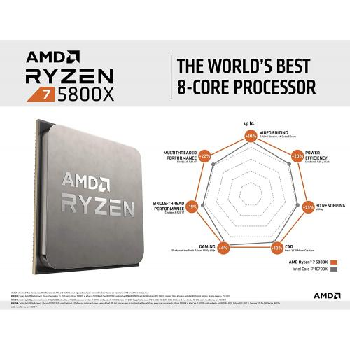 AMD Ryzen 7 5800X 8 Core 16 Thread Desktop Processor   8 Cores & 16 Threads   3.8 GHz  4.7 GHz CPU Speed   36MB Total Cache   PCIe 4.0 Ready   Without Cooler