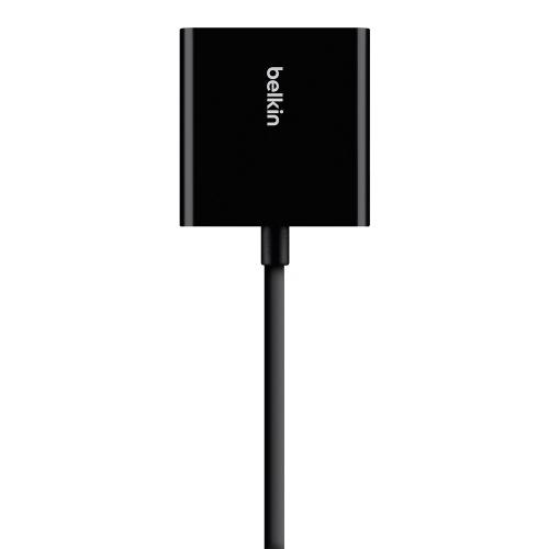 Open Box: Belkin Universal HDMI To VGA Adaptor With Audio   HDMI M + HDMI F Compatible   Audio Output And Connection   Plug & Play   Micro USB Power Input (for Low Power HDMI Devices)   Switch Tip