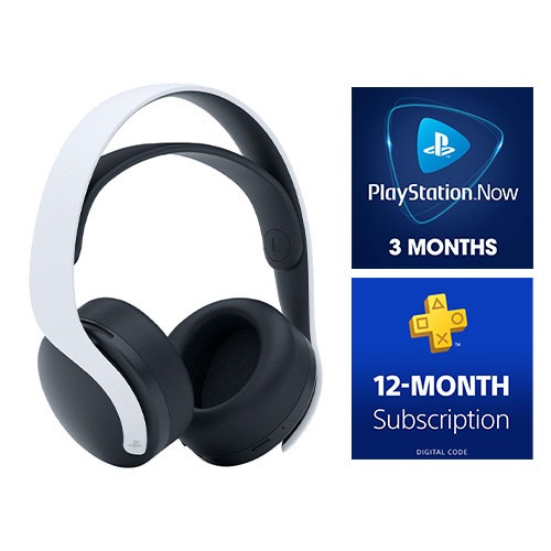 PlayStation 5 PULSE 3D Wireless Gaming Headset + PlayStation Now 3 Month Membership (Email Delivery) + PlayStation Plus: 12-Month Subscription (Email Delivery)