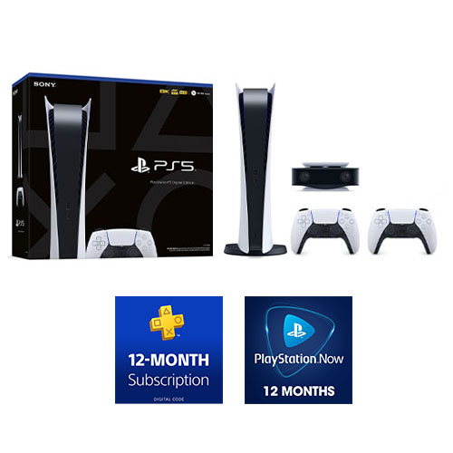 PlayStation 5 Digital Edition + DualSense Wireless controller + HD Camera + PlayStation Plus 12 Month Membership (Email Delivery) + PlayStation NOW: 12-Month Subscription (Email Delivery)