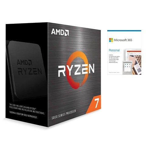 AMD Ryzen 7 5800X 8-core 16-thread Desktop Processor + Microsoft 365 Personal 1 Year Subscription For 1 User