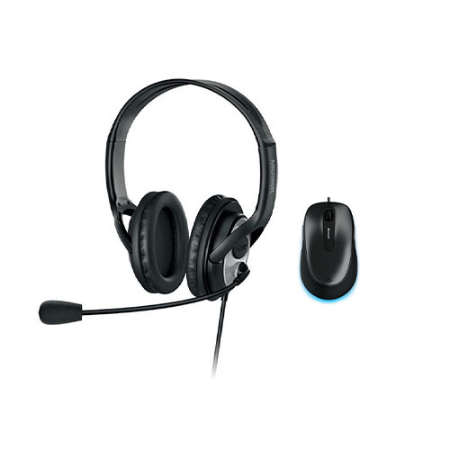 Microsoft LifeChat LX-3000 Digital USB Stereo Headset Noise-Canceling Microphone + Microsoft 4500 Mouse Black, Anthracite