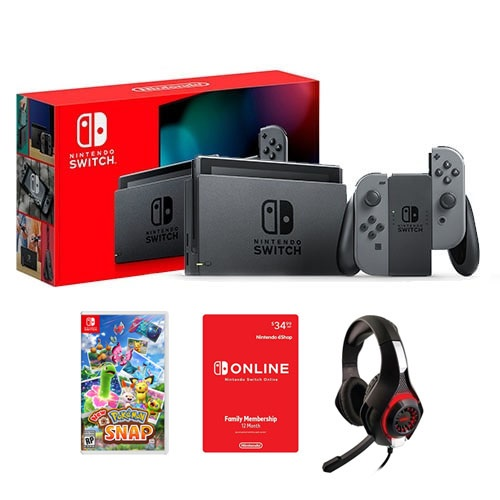 Nintendo Switch with Gray Joy-Con Controllers + Pokemon Snap for Nintendo Switch +Nyko Core 80801 Wired Gaming Headset + Nintendo Switch Online Family Membership 12 Month Code