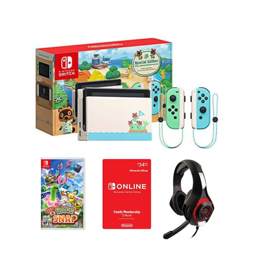 Nintendo Switch Console 32GB Special Animal Crossing: New Horizons Edition + Pokemon Snap for Nintendo Switch + Nyko Core 80801 Wired Gaming Headset + Nintendo Switch Online Family Membership 12 Month Code