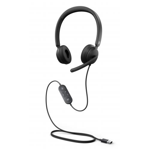 Microsoft Modern USB Headset Black   Wired USB A Connection   High Quality Stereo Sound   Comfortable On Ear Design   Noise Reducing Microphone   Convenient Call Controls