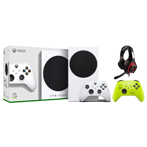 Xbox Series S 512GB SSD Console w/ Xbox Wireless Controller White + Xbox Wireless Controller Electric Volt + Nyko Core Wired Gaming Headset