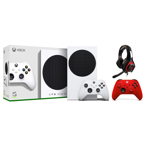Xbox Series S 512GB SSD Console w/ Xbox Wireless Controller White + Xbox Wireless Controller Pulse Red + Nyko Core Wired Gaming Headset