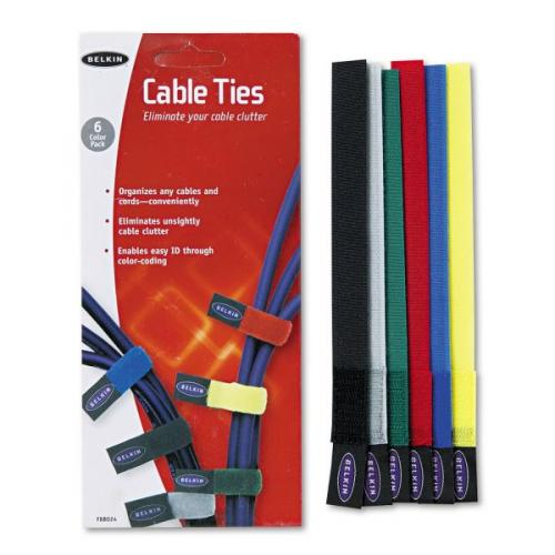 "Belkin Hook-and-loop Cable Ties (6-Pack) - Includes Gray, Black, Blue, Yellow, Red, & Green - 8"" Cable length - Hook- and-loop design - Nylon Material"