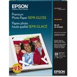Epson Premium Photo Paper SEMI-GLOSS (8.5x11 Inches, 20 Sheets) (S041331) , White