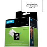 "Dymo LabelWriter Adhesive Name Badges - 4"" x 2 1/4"" Length - Removable Adhesive - Rectangle - Direct Thermal - White - 250 / Roll"