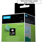 """Dymo LabelWriter File Folder Labels - 9/16"""" x 3 7/16"""" Length - Direct Thermal - White - 130 / Roll - 260 / Box"""