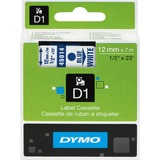 "Dymo D1 Electronic Tape Cartridge - 1/2"" Width x 22 63/64 ft Length - Thermal Transfer - Blue on White - Polyester - 1 / Each"