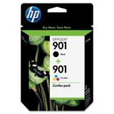 HP 901   2 Ink Cartridges   Black, Tri-color   Works with HP OfficeJet 4500, J4500 series, J4680   CC653AN, CC656AN
