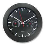 "Artistic 12"" Rnd Wall Clock w Temp/Humidity Gauge"