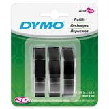 DYMO EMBOSSING TAPE BLACK 3PK