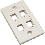 Intellinet Wall Plate Flush Mount, 4 Outlet, Ivory