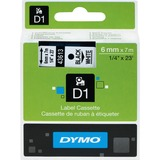 "Dymo D1 Electronic Tape Cartridge - 1/4"" Width x 22 63/64 ft Length - Thermal Transfer - White - Polyester - 1 Each"