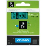 "Dymo Electronic Labeler D1 Label Cassette - 1/2"" Width x 22 63/64 ft Length - Thermal Transfer - Black, Green - Polyester - 1 Each"