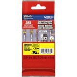 "Brother Extra Strength Adhesive 1"" TZ Tapes - 15/16"" Width - Thermal Transfer - Black, Yellow - Polyethylene - 1 Each"