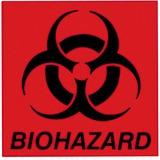 """Rubbermaid 6"""" Square Biohazard Label"""