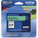 "Brother P-Touch TZe Flat Surface Laminated Tape - Permanent Adhesive - 45/64"" Width x 26 1/4 ft Length - Thermal Transfer, Direct Thermal - Green, Black - 1 Each"