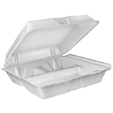 Dart White Foam Hinged Lid Containers