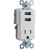 Pass & Seymour TradeMaster USB Charger with Tamper-Resistant Receptacle, White