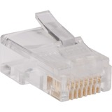 100PK RJ45 PLUGS ROUND SOLID STRANDED CONDUCTOR 4-PAIR CAT5E CBL