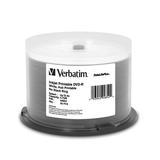 Verbatim DVD-R 4.7GB 8X DataLifePlus White Inkjet Printable, Hub Printable - 50pk Spindle - TAA Compliant