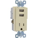 Pass & Seymour TradeMaster USB Charger with Tamper-Resistant Receptacle, Ivory