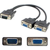 VGA Male to 2xVGA Female Black Adapter For Resolution Up to 1920x1200 (WUXGA)