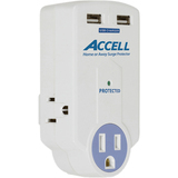 Accell Travel Surge Protector with Dual USB Charging