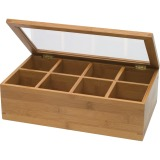 Lipper 8189 Bamboo Tea Box-8 compartment with Acrylic & Bamboo Lid