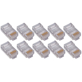 50PK RJ45 Plugs Round Solid Stranded Conducter 4-Pair Cat5e Cable