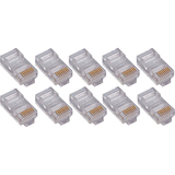 50PK RJ45 Plugs Round Solid Stranded Conducter 4-Pair Cat6 Cable