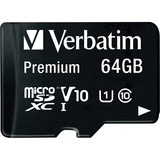 Verbatim 64GB Premium microSDXC Memory Card with Adapter, UHS-I Class 10