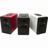 Grace Digital GDI-BTSP207 aptX Powered Bookshelf Bluetooth Speakers (Set of 2, Red)