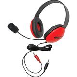 Califone Red Stereo Headphone w/ Mic Dual 3.5mm Plug