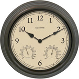"AcuRite 15"" Copper Patina Indoor or Outdoor Clock with Thermometer & Humidity 01063"