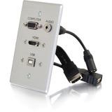 C2G HDMI, VGA, 3.5mm Audio and USB Pass Through Single Gang Wall Plate - Aluminum